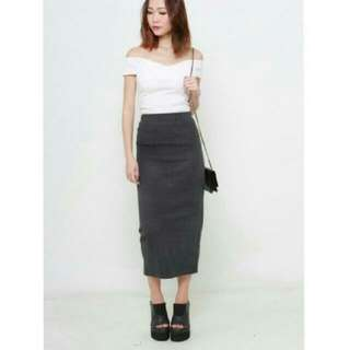[2 for $20 Sale] Dark Grey Midi Skirt