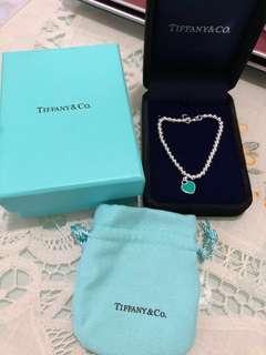 Tiffany 手鏈手鍊淺藍色純銀 17cm 全新 名牌手鍊手飾