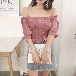 [PO] shirred bell sleeve ruffle ends off shoulders