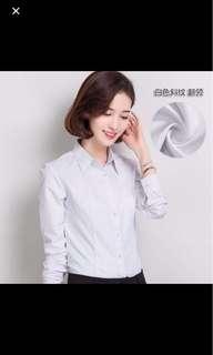 Long Sleeved White Formal Blouse