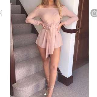 Pink Off-Shoulder One-Piece/Romper/Jumpsuit with Ribbon