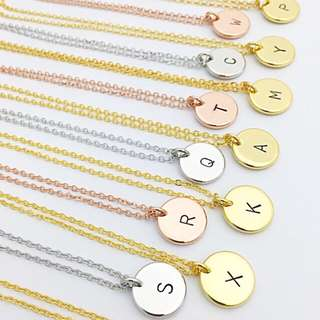 "NL012- Minimalist Custom Hand stamped Necklace with ""1 Alphabet"" Disc Charm - Shiny Gold, Shiny Rose Gold OR Shiny Rhodium Plated - Made To Order -"