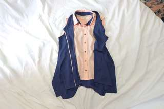 S.M.L. Fake double shirt navy sleevless