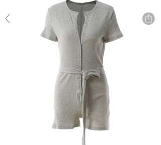 Grey Button-Up Romper/Jumpsuit