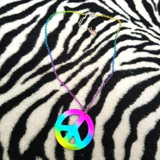 Rainbow peace sign necklace