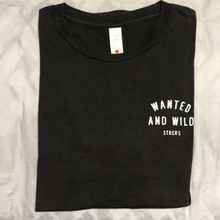 Wanted And Wild Black T-Shirt Graphic Logo