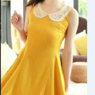 Korean Style Yellow Dress With Crochet Collar