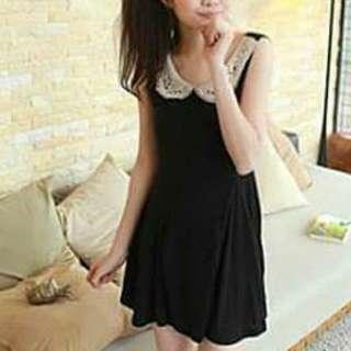 Black Korean Dress With Crochet Collar
