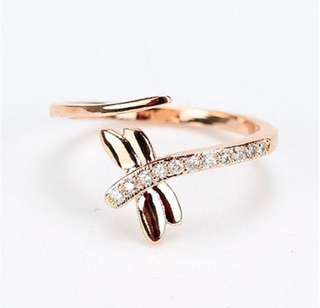 925 Dragonfly Adjustable Ring