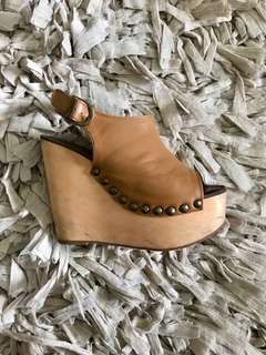 Jeffrey Campbell tan leather wedges