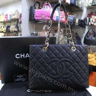Chanel Black Caviar Grand Shopping Tote GST GHW