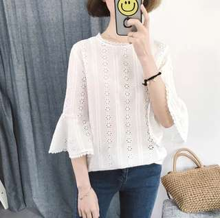 S-XL Flower Design Flare Sleeve Decent Look White Top