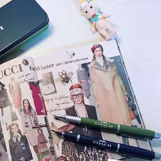 Japanese Magazine Monomax Gift Coach Fountain Pen Gel Ink Pen set with refill