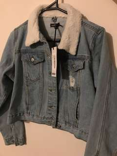 Denim sherpa collar jacket