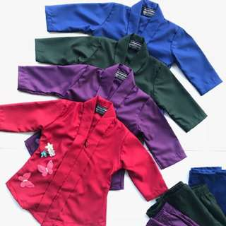 Kebaya Cotton Kanak-kanak Purple Red Blue Green