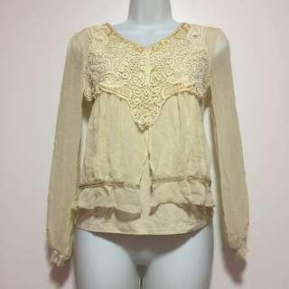 ♥️ Cream Lace Sequin Blouse Top