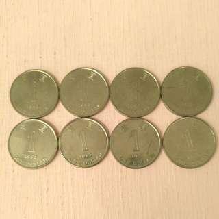 1993年 1元香港獨特磁鐵硬幣8個 自出價