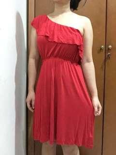 Forever 21 One Shoulder Red Dress