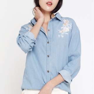 TheWillowLabel Embroidered Denim Shirt