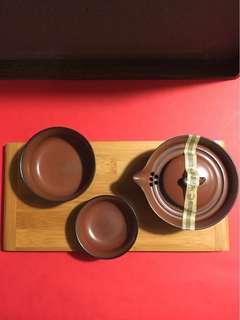 精緻普洱茶具:茶禪一味(竹盘+手抓壼)