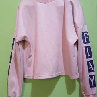 Sweater top crop pink