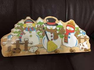 雪人壁掛架 木質掛勾 衣掛架 兒童積木掛架