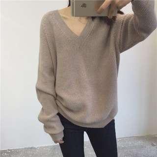 V-Neck Knitted Sweater ( in Khaki )