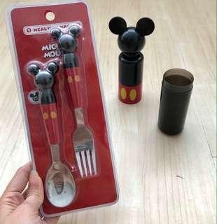 Mickey Spoon Fork & Storage Box