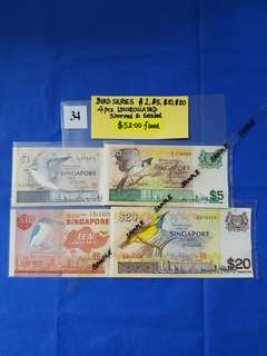 BIRD SERIES $1, $5, $10, $20.   4 pieces UNCIRCULATED.   Sleeved and sealed.