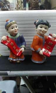 早期-企業陶瓷娃娃一對