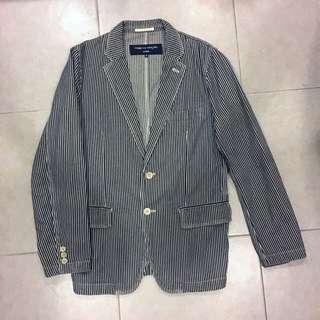 🚚 (降價可議價)Comme des garcon 川久保玲 藍染線條工裝外套 / 西裝外套
