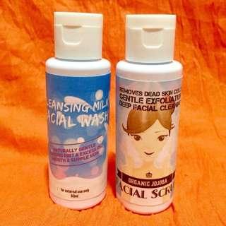 Cleansing Milk Facial Wash + Organic Jojoba Facial Scrub! Best Pair! 60ml