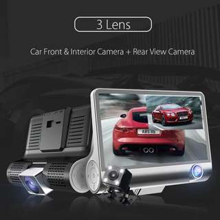 3 Lens 4inch HD 1080P Car DVR Dash Cam Video Recorder Rearview Camera