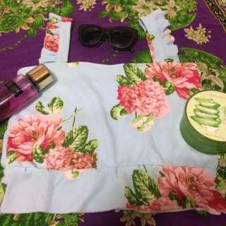 Crop Top (Flower Sleeveless)