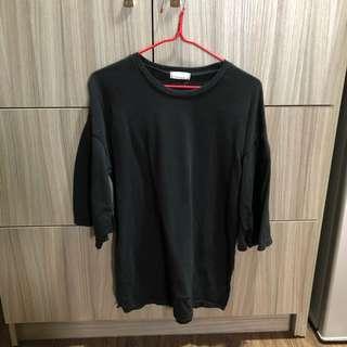 韓國七分袖側開岔上衣 黑色
