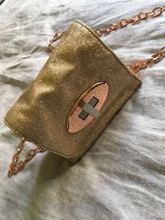 Mimco gold and rose gold glitter crossbody bag
