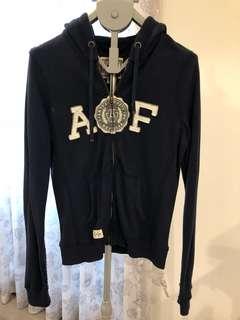 🚚 [二手衣系列兩件8折三件75折]A&F女版深藍運動休閒拉鍊連帽外套
