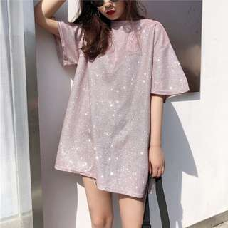 Korean Loose Tee Fashion Over-sized Tee Long T-shirt Round Neck