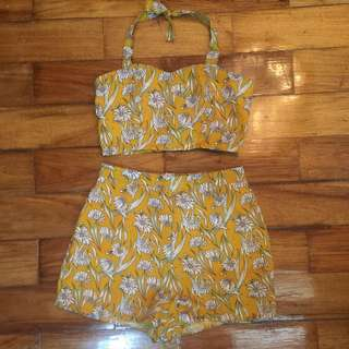 (FINAL PRICE ALREADY) 2 Piece Floral Crop Top and Shorts