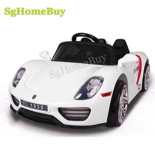In-stock - white Porche kids electric car