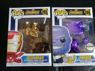 Chrome thanos and chrome iron man pops
