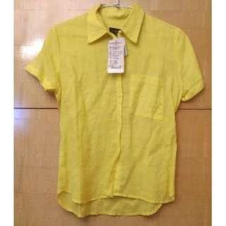 *NEW*全新Calvin Klein短袖襯衫(卡文克萊CK/黃色)