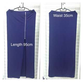Long Skirt Blue Cotton Elastic