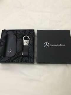 Mercedes key pouch and key ring set