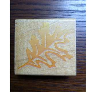 Autumn leave wooden rubber stamp