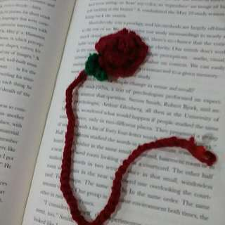 Crocheted Rose Bookmark