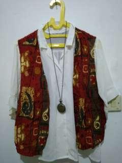 Kemeja Putih + Vest Merah