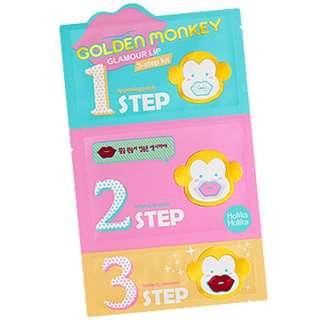 ⚡️[25% off] (10 for $30) Holika Holika Golden Monkey Glamour Lip 3 Step Kit