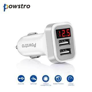 USB Car Charger Adapter with LED Display 2.1A