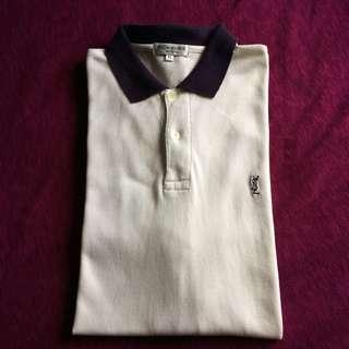 YSL Pour Homme 1990s Golf Lux Vintage Creme Polo Shirt